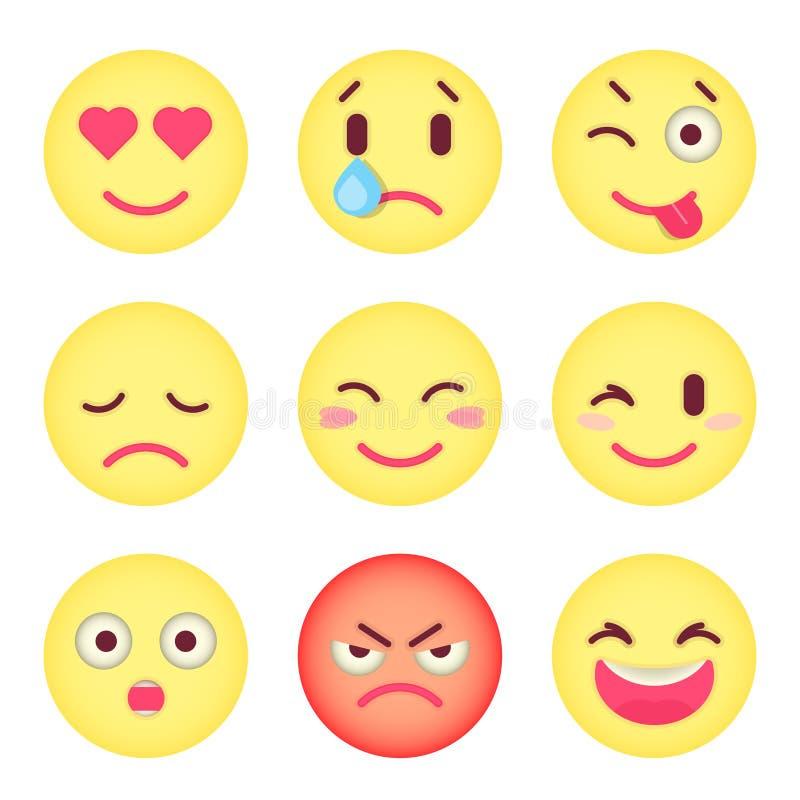 Комплект плоских смайликов Комплект Emoji Изолированный вектор иллюстрация вектора