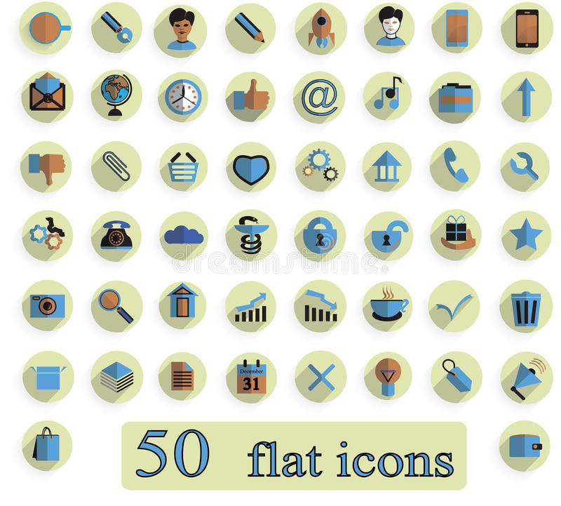Комплект плоских творческих значков на белой предпосылке 50 соединяет стоковое изображение rf