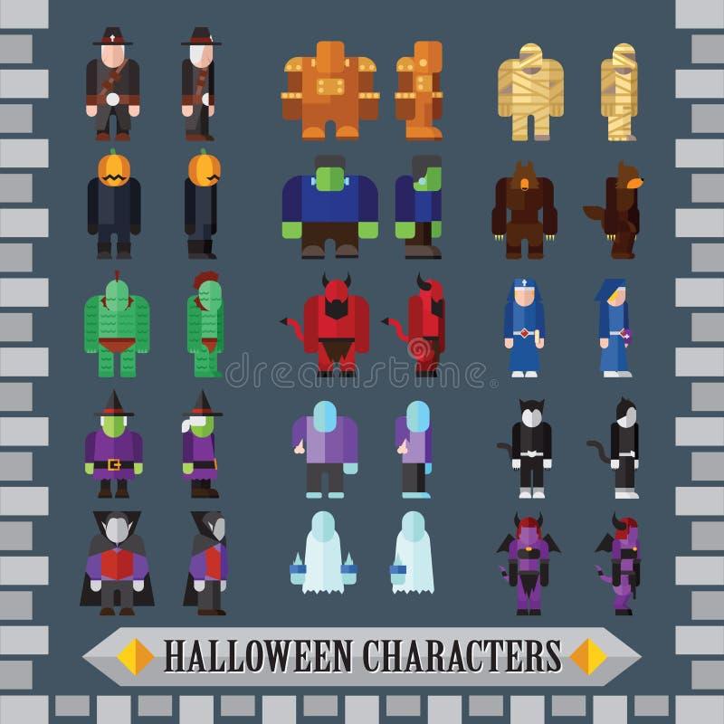 Комплект плоских характеров игры хеллоуина для дизайна бесплатная иллюстрация