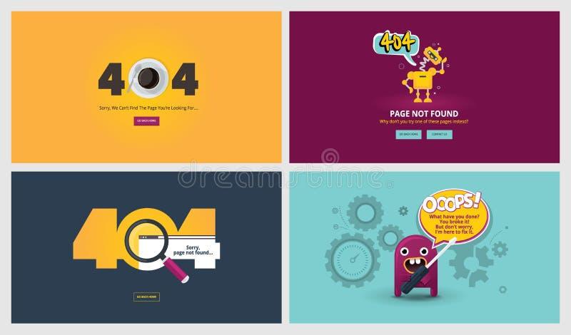 Комплект плоских шаблонов страницы ошибки дизайна 404 иллюстрация вектора