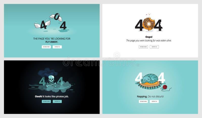 Комплект плоских шаблонов страницы ошибки дизайна 404 бесплатная иллюстрация