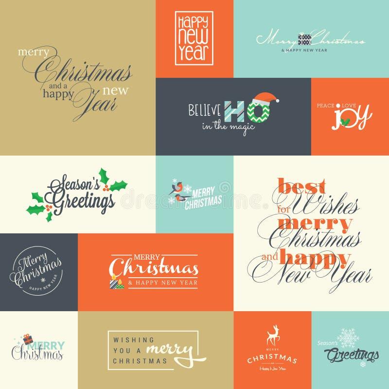 Комплект плоских элементов дизайна для поздравительные открытки рождества и Нового Года бесплатная иллюстрация
