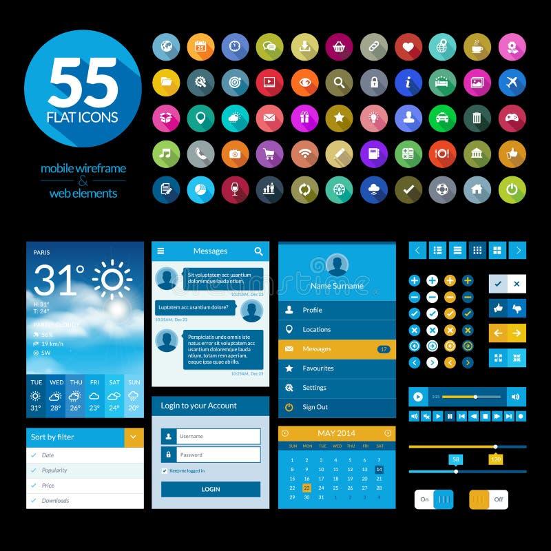 Комплект плоских элементов и значков ui дизайна иллюстрация штока