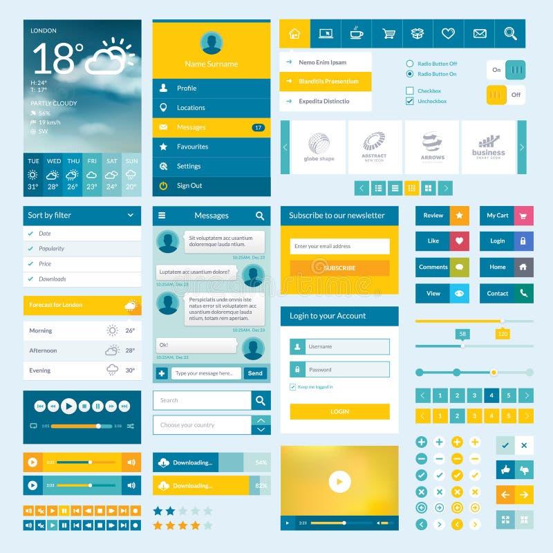 Комплект плоских элементов сеты для передвижных app и сеты de иллюстрация вектора