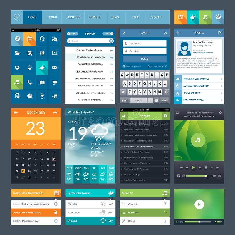 Комплект плоских элементов ui дизайна для передвижного app и  бесплатная иллюстрация