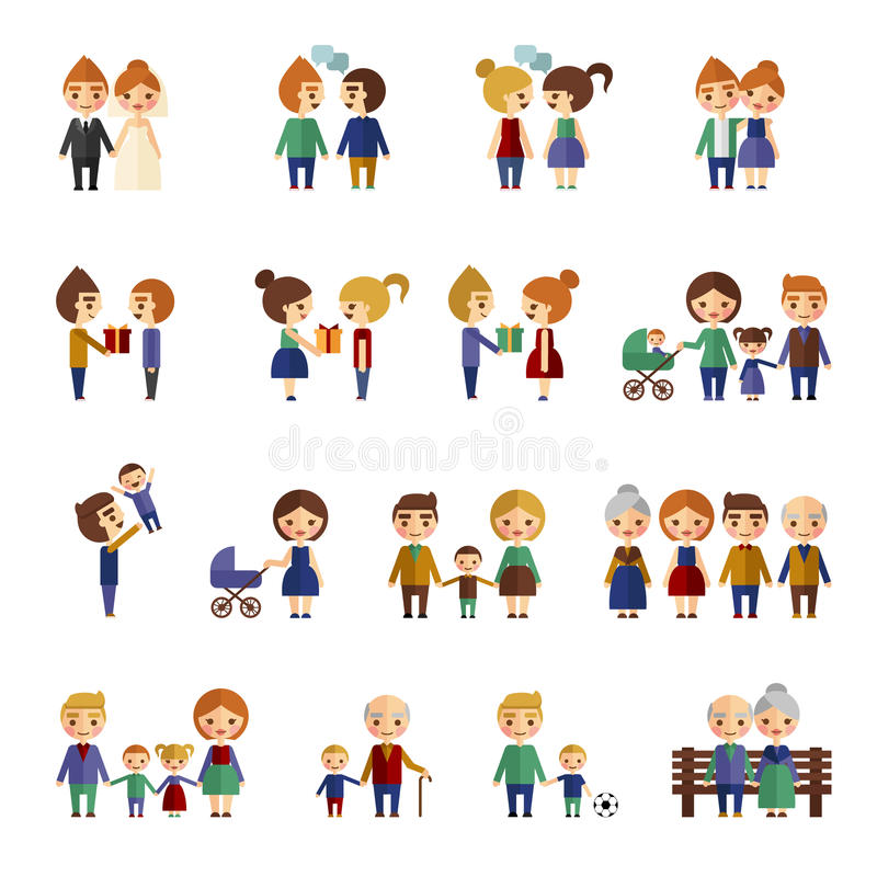 Комплект плоских людей стоковое изображение rf