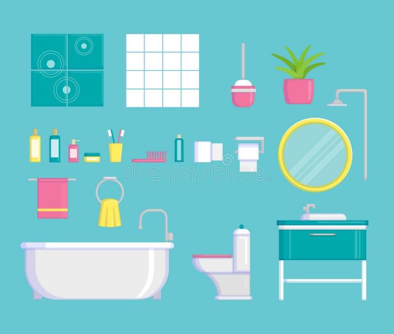 Комплект плоских ярких элементов и деталей вектора для современной стильной конструкции интерьера ванной комнаты Ванна, шампунь,  иллюстрация вектора