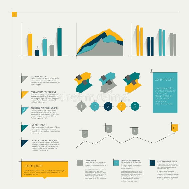 Комплект плоских infographic элементов иллюстрация штока