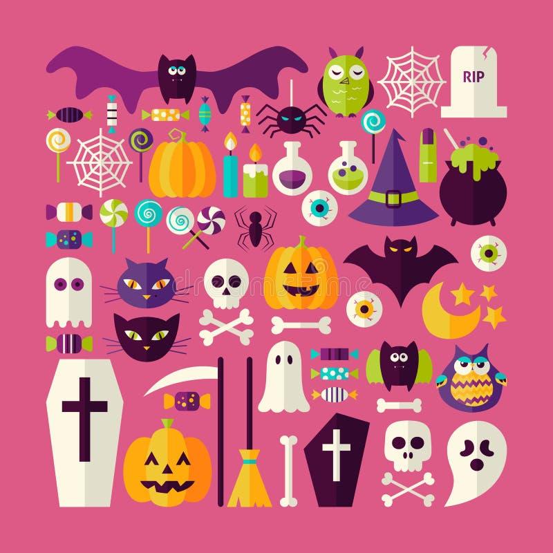 Комплект плоского вектора стиля большой объектов и Eleme праздника хеллоуина иллюстрация вектора