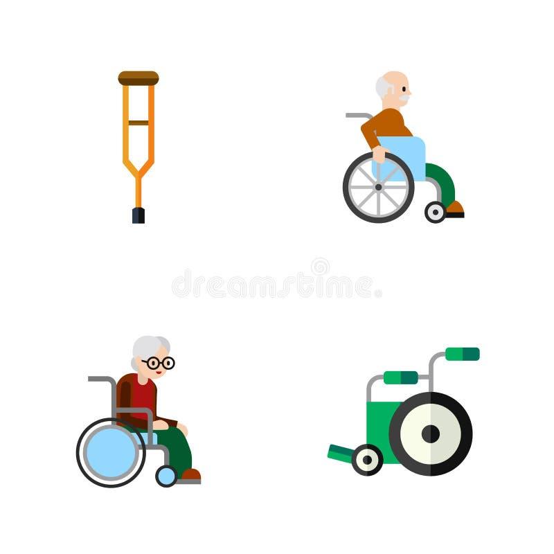 Комплект плоского значка с ограниченными возможностями кресло-коляскы, стойки, с ограниченными возможностями объектов вектора чел иллюстрация вектора