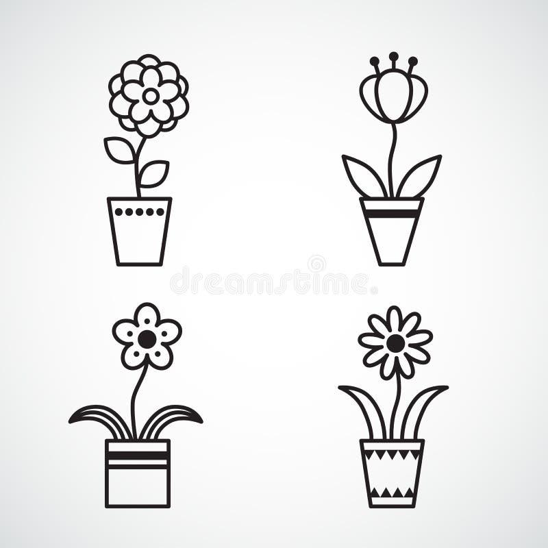 Комплект плоского изолированного силуэта значков цветка значка бесплатная иллюстрация