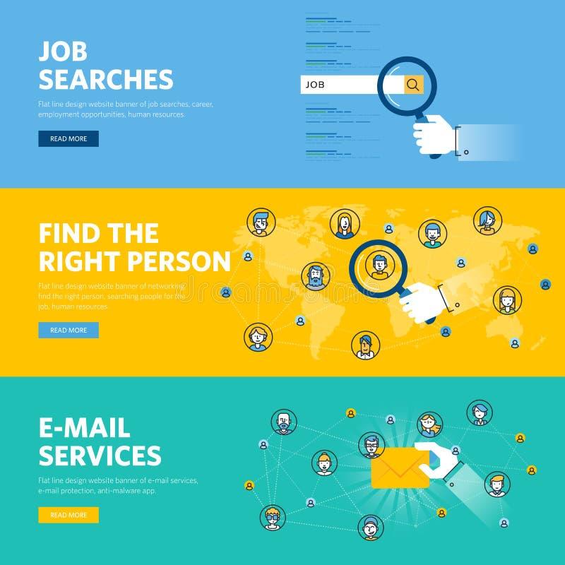 Комплект плоской линии знамен сети дизайна для поисков работы, человеческих ресурсов, обслуживаний электронной почты иллюстрация вектора