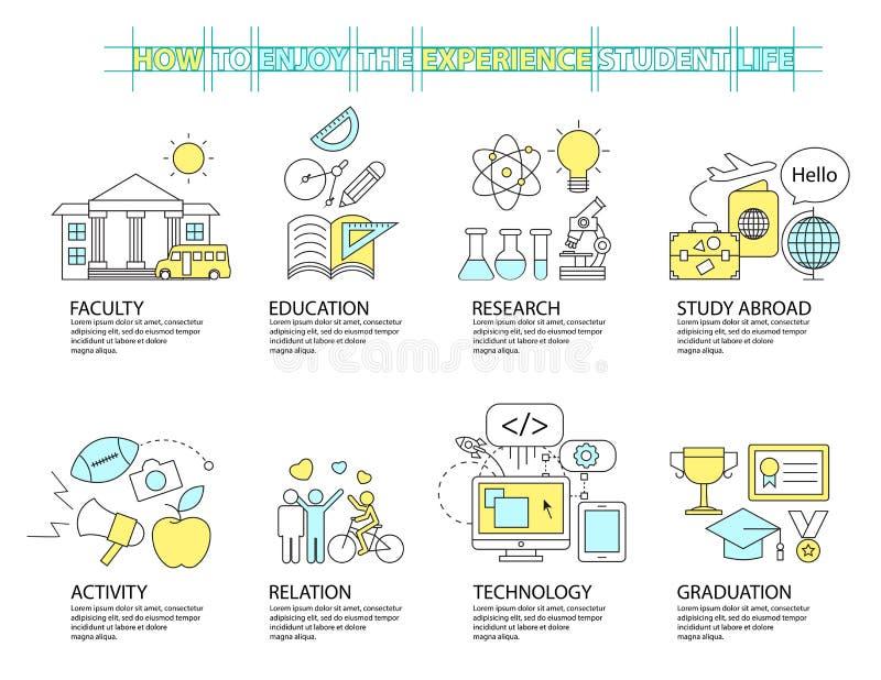 Комплект плоской линии значка & infographic идеи проекта, образования иллюстрация вектора