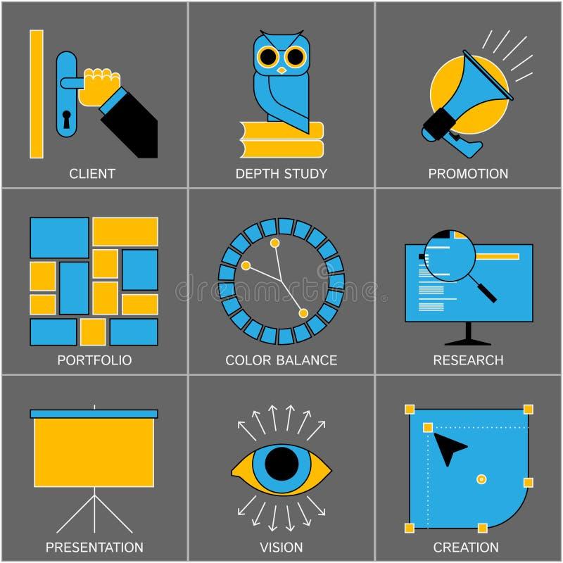 Комплект плоской линии значков дизайна для цифров иллюстрация вектора