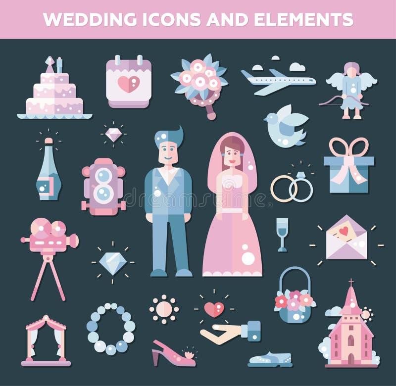 Комплект плоской свадьбы дизайна, значков замужества и бесплатная иллюстрация