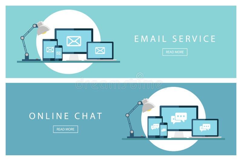 Комплект плоской электронной почтовой системы идей проекта и онлайн болтовни Знамена для веб-дизайна, маркетинга и продвижения бесплатная иллюстрация