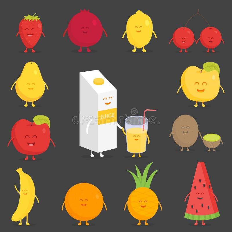 Комплект плодоовощ Клубника, гранатовое дерево, лимон, вишня, груша, яблоко, киви, банан, ананас, апельсин, арбуз иллюстрация вектора
