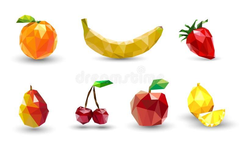 Комплект плодоовощ полигонов Яблоко, лимон, вишня, банан, апельсин, s иллюстрация вектора
