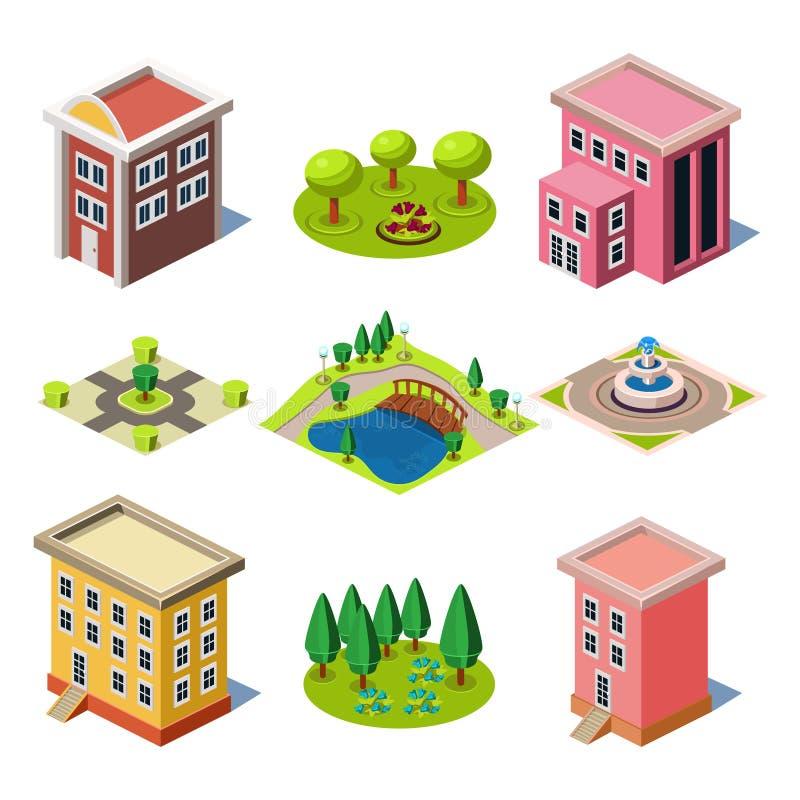 Комплект равновеликих зданий и магазинов города иллюстрация штока