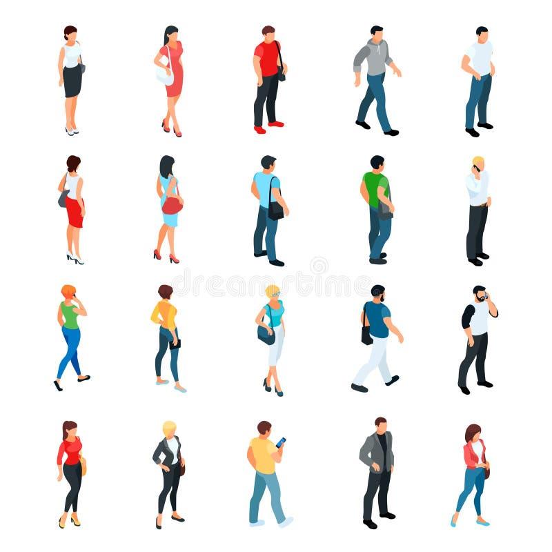 Комплект равновеликих людей изолированных на белой предпосылке иллюстрация штока