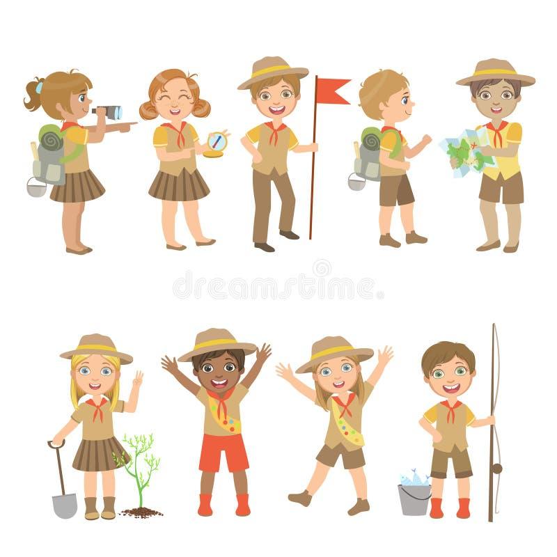 Комплект разведчиков детей располагаясь лагерем иллюстрация штока