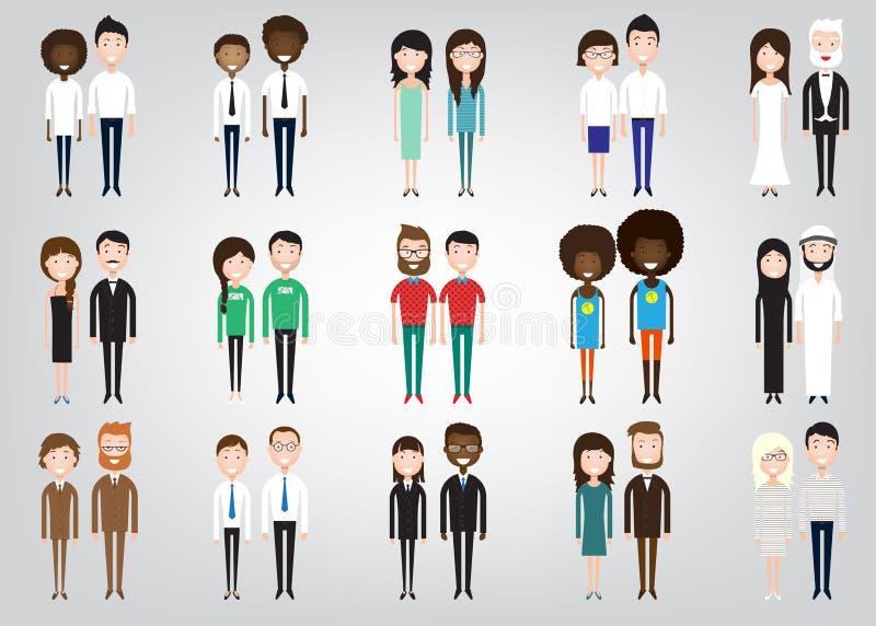 Комплект разнообразных бизнесменов иллюстрация вектора