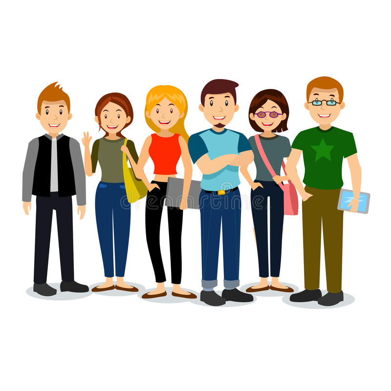 Комплект разнообразных коллежа или студентов университета Группа в составе вектора студенты Иллюстрация шаржа студентов бесплатная иллюстрация