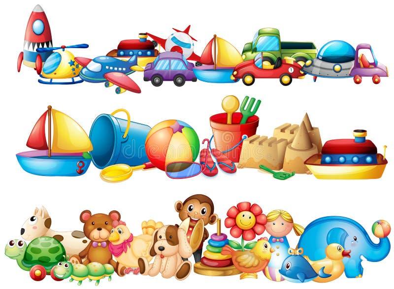 Комплект разных видов игрушек иллюстрация штока
