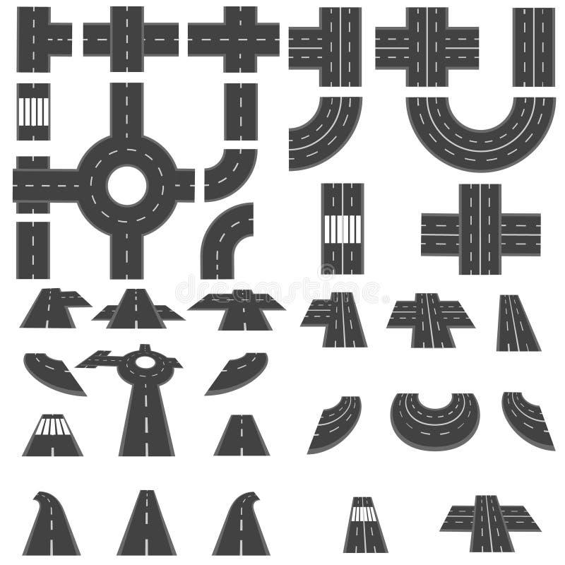 Комплект разделов дорог и различного пересечения карусели Взгляд сверху и перспектива иллюстрация иллюстрация вектора