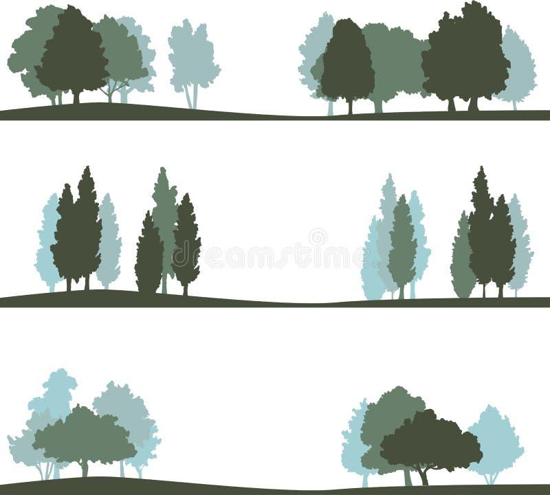 Комплект различного ландшафта с деревьями иллюстрация штока