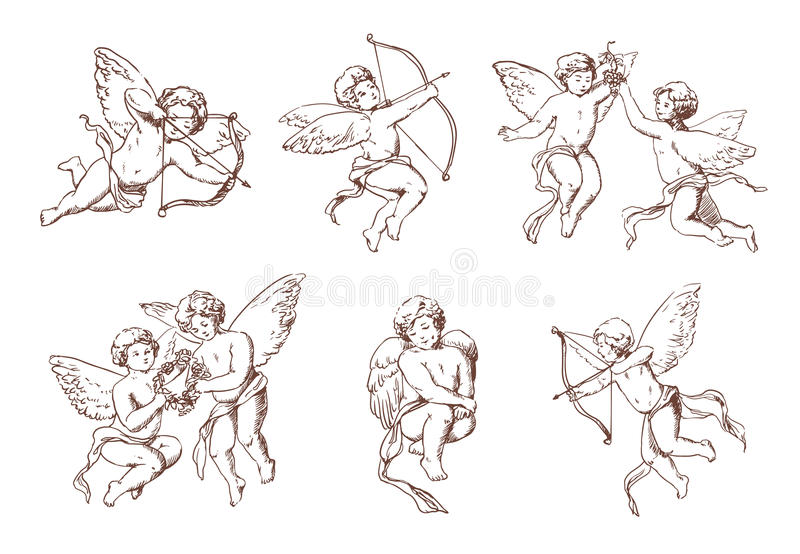Комплект различного винтажного купидона Различные ангелы летания с стрелками и собранием смычка Нарисованная рука Амура вектора m бесплатная иллюстрация