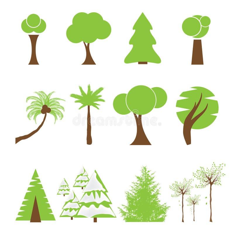 Комплект различного вида дерева иллюстрация штока