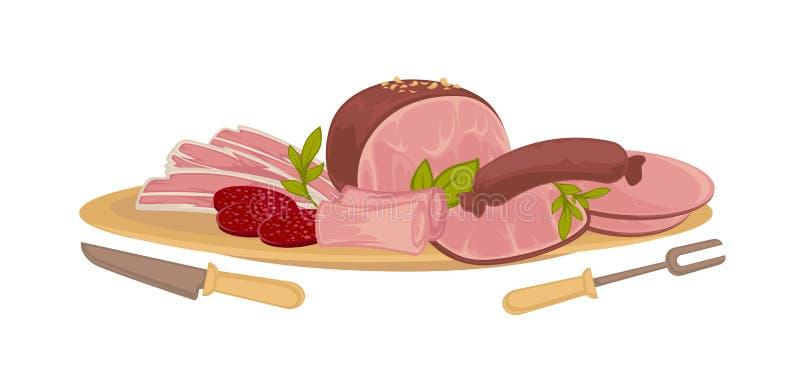 Комплект различного мяса видов иллюстрация вектора