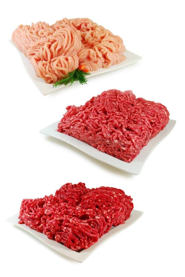 Комплект различного семенить мяса 3 Свинина, говядина, цыпленок изолированный на белой предпосылке стоковое изображение rf