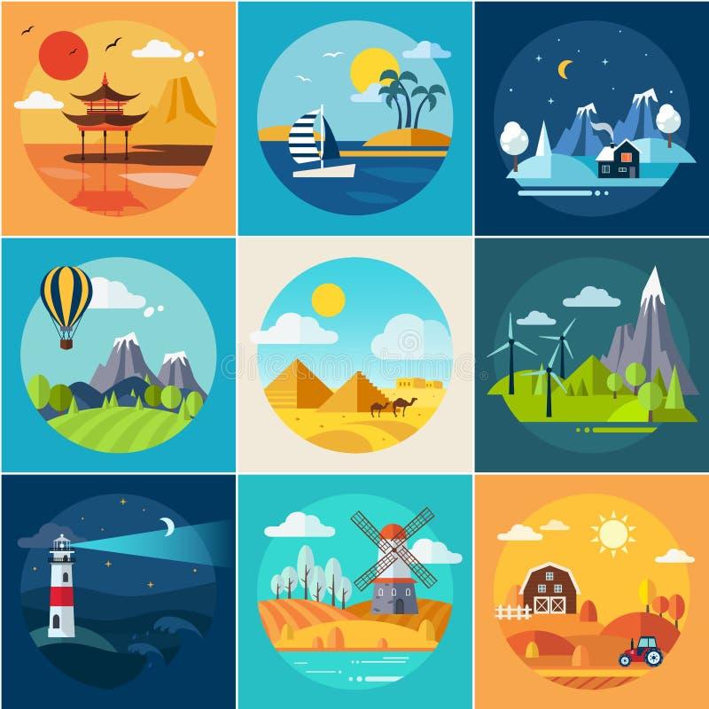 Комплект различных ландшафтов в плоском стиле иллюстрация штока