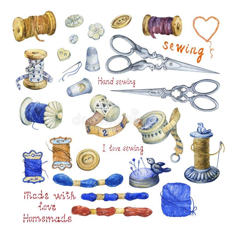 Комплект различных винтажных объектов для шить, ремесленничества и handmade иллюстрация вектора