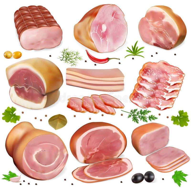 Комплект различных видов мяса бесплатная иллюстрация