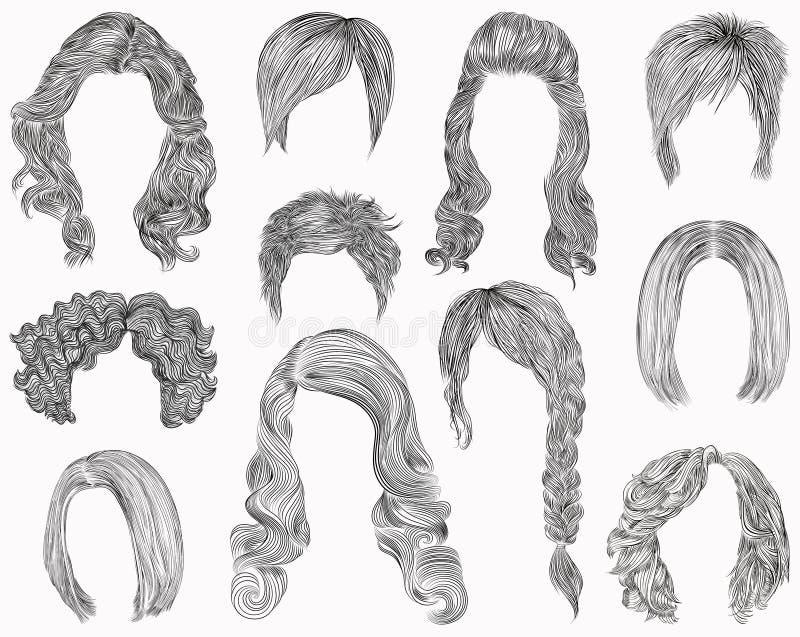 Комплект различных волос и стиля причёсок kare каскада края курчавое белизна вала карандаша чертежа предпосылки эскиз бесплатная иллюстрация