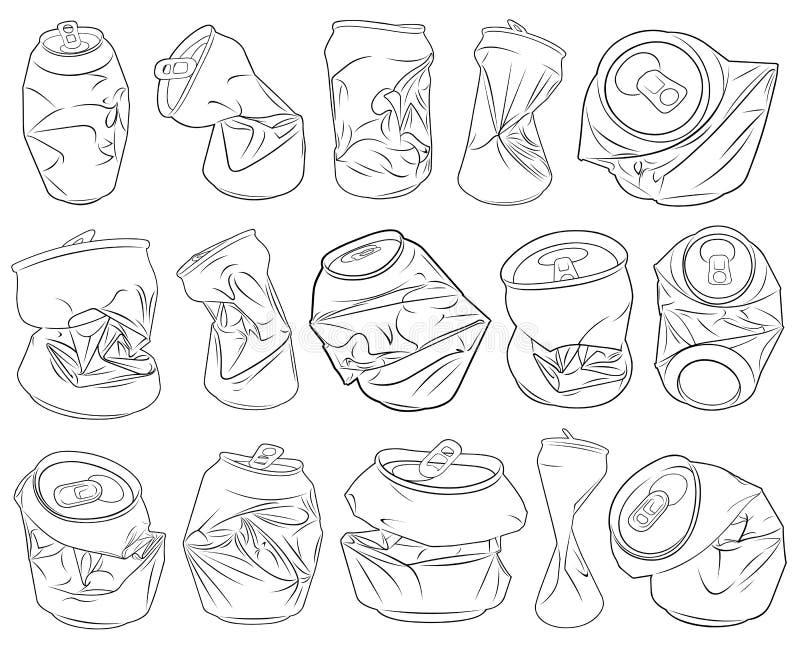 Комплект различных задавленных чонсервных банк иллюстрация штока