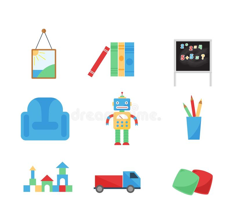 Комплект различных игрушек вектора шаржа иллюстрация штока
