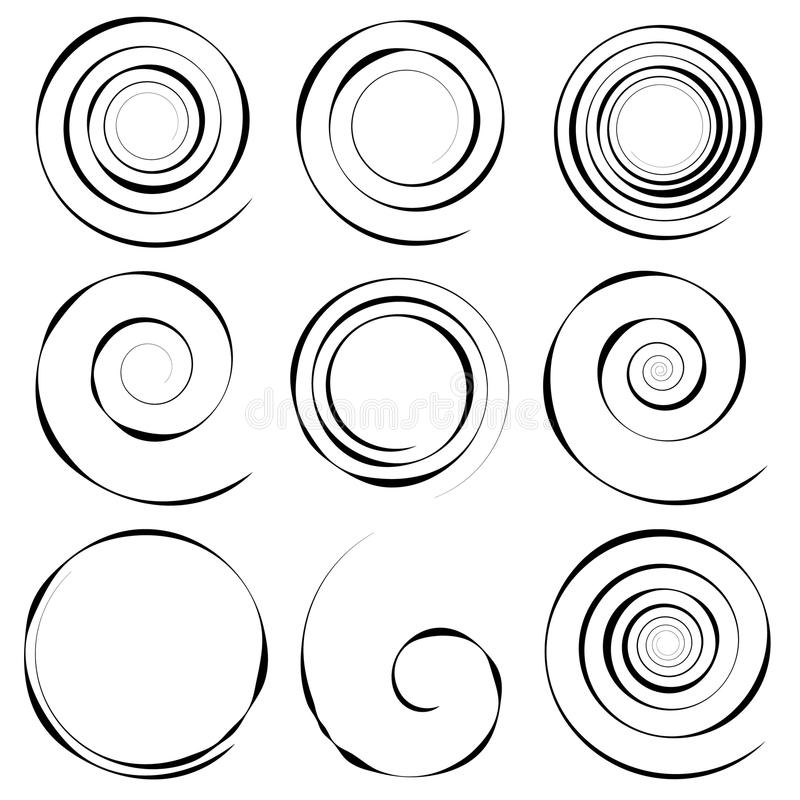 Комплект 9 различных концентрических спиральных элементов Абстрактное geometri бесплатная иллюстрация
