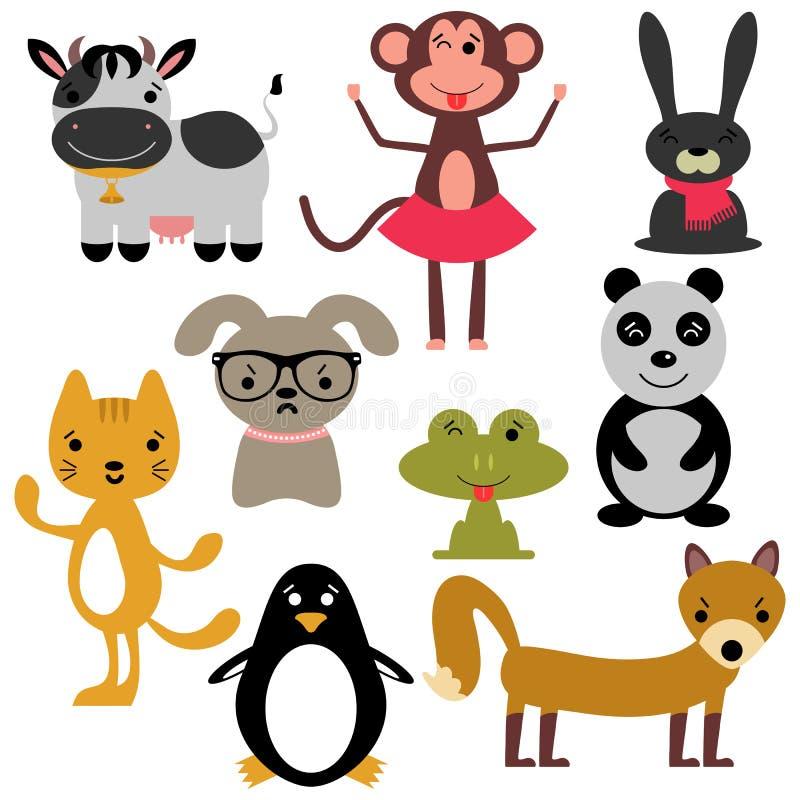 Комплект различных милых животных бесплатная иллюстрация