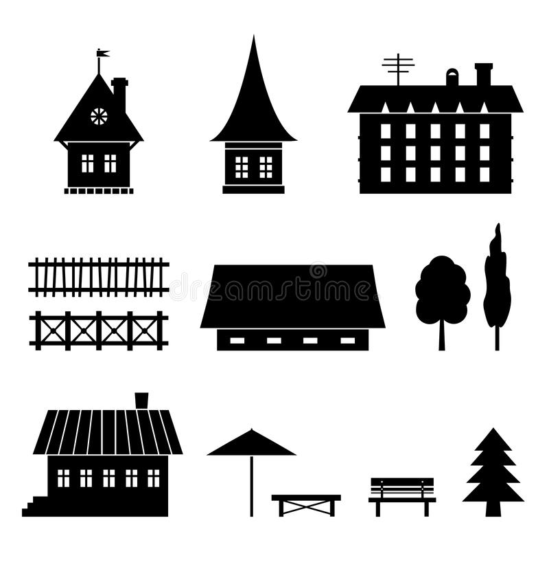 Комплект различных домов. Значки элементов страны. Деревья, загородки, дома, стенды иллюстрация штока