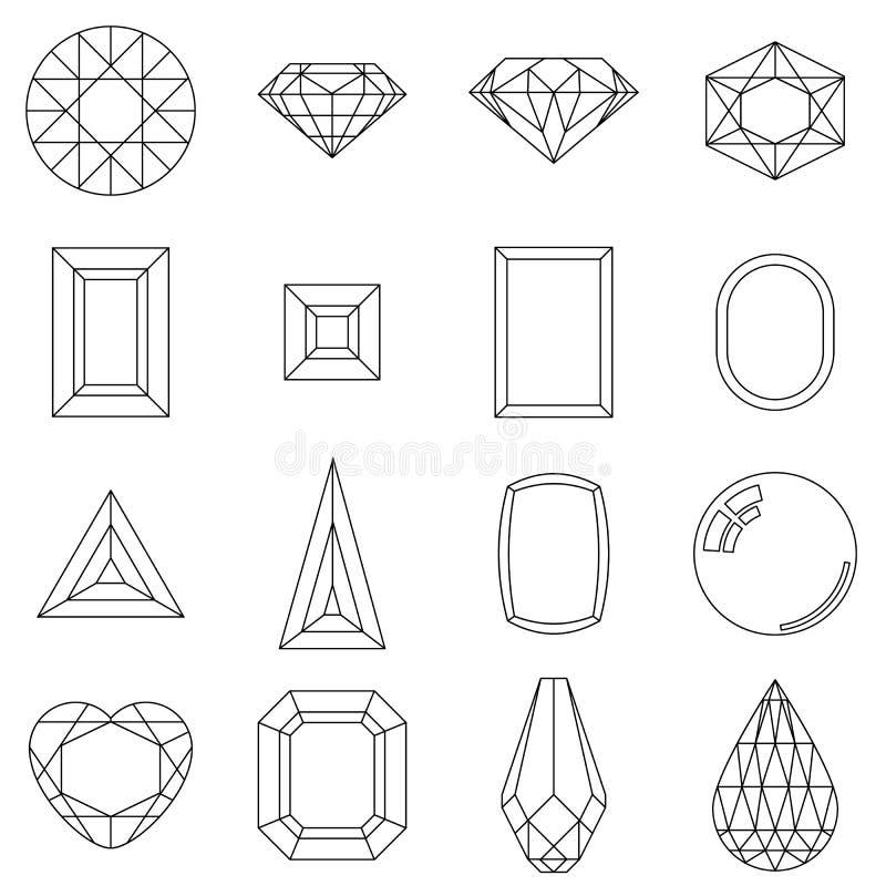 Комплект различных отрезков камней самоцвета иллюстрация вектора