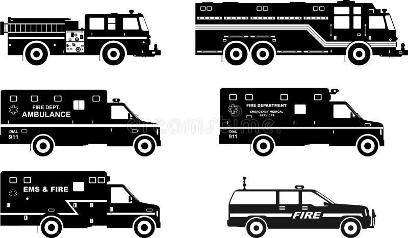 Комплект различных пожарных машин силуэтов и иллюстрация штока