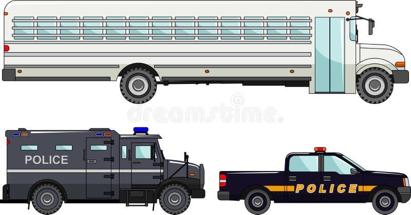 Комплект различных полицейских машин и шины тюрьмы дальше иллюстрация штока