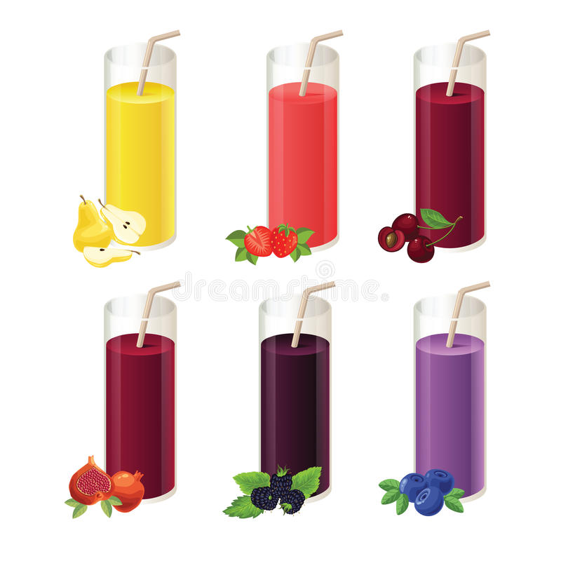 Комплект различных сока и ягоды бесплатная иллюстрация