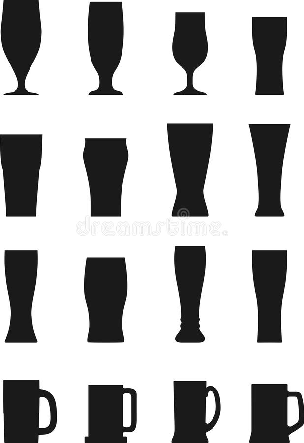 Комплект различных стекел пива силуэтов иллюстрация штока
