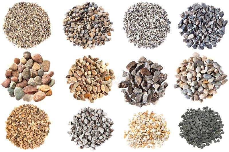 Комплект различных текстур гравиев и камешков стоковое фото rf