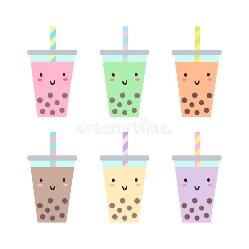 Комплект различных чашек с чаем пузыря бесплатная иллюстрация